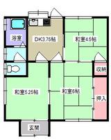 加瀬字十三塚・3K棟割貸家・間取図