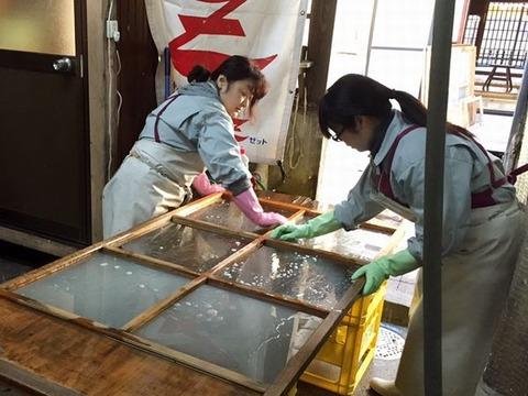 ガラス戸掃除1