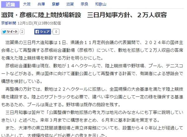 滋賀県 彦根 国体 陸上競技上 新設 改修