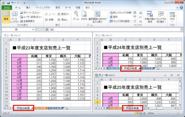 Excelで1つのブックに複数のシートを作成している場合がある。シートはお互い関連した内容のものであることがほとんどだと思うが、内容を確認するのに、いちいちタブを切り替えて見るのは面倒だ。こういう時は、1画面にシートを並べて表示してしまおう。