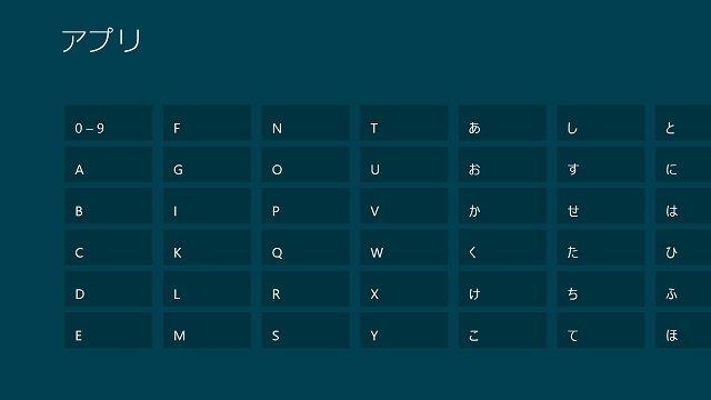 Windows 8のアプリを50音で整理して探す【知っ得!虎の巻】