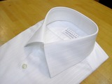 オーダーシャツ 白ドビー縞+銀ラメ01