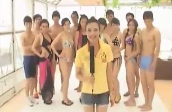 ビキニの水着コンテストに出演していることが彼にバレて放送事故!!