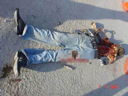 【グロ画像】殺害された男性 空腹のイッヌに見つかり無事アバラだけになるw