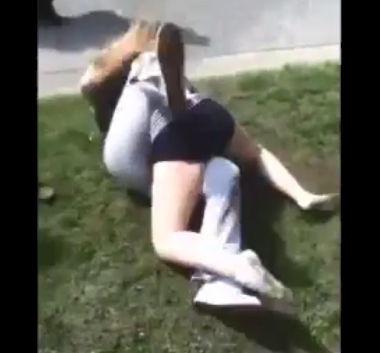 白人女2人の喧嘩、激しい殴り合いから絞め落とす【動画】