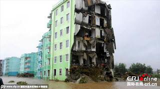 【北朝鮮】台風15号でマンションが崩壊