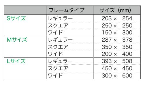 フレームサイズ表