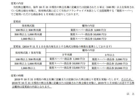 神戸物産変更