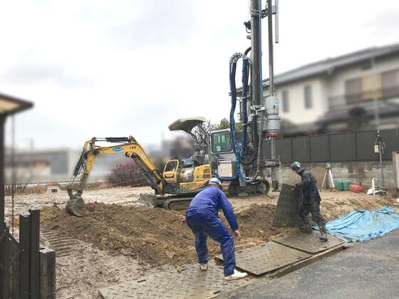 K様邸は地盤調査の結果は改良工事判定。柱状改良工事をおこない地盤を固めました