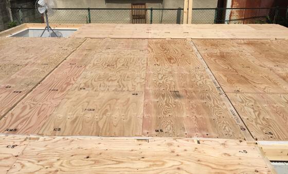 床合板を全面張り終えました。