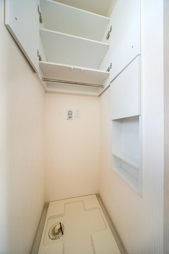 南海プライウッドの「サニタ」。洗面収納ボックスBタイプ。扉付きの壁埋込み収納です