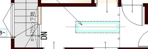 S様邸の2階ホールの図面(室内物干しスペース)