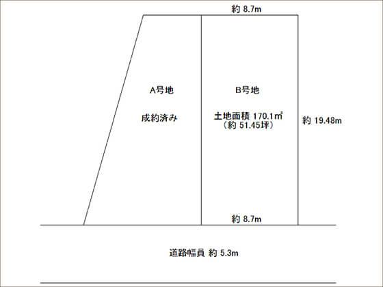 枚方市宇山東町の分譲地の区画図