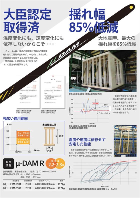 ミューダムは、従来のゴム系ダンパーやオイル系ダンパーとは異なり、温度や速度に依存せず、安定した性能を発揮します。大地震時、最大で揺れ幅を80%低減します。