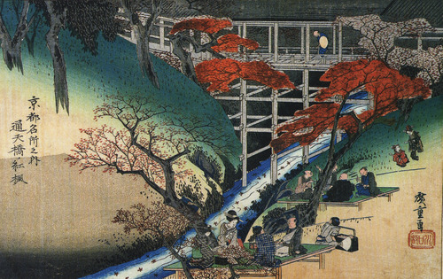 Hiroshige_People_under_maple_trees_by_a_stream