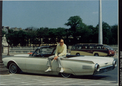 Rene Leibowitz with his Ford Thunderbird in Paris (1961)