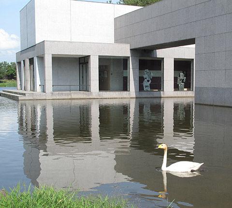 土門拳記念館と白鳥