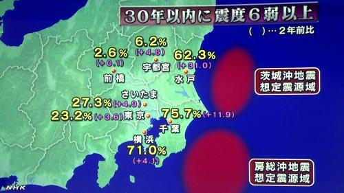 2012年 30年以内に震度6以上