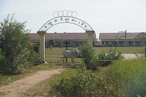 学校の入り口にも牛