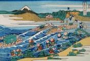 北斎『富嶽三十六景 東海道金谷ノ不二』1832年頃作成
