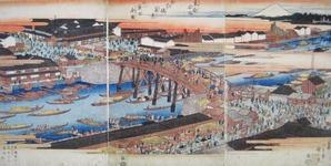 広重『東都名所 日本橋真景 ナラビニ魚市全図』天保年間中頃
