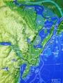 1450年(足利義政・太田道灌時代)以前の江戸の地形推定