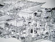 長谷川雪『江戸名所図会 日本橋魚市』天保5-7年(1834-6年)