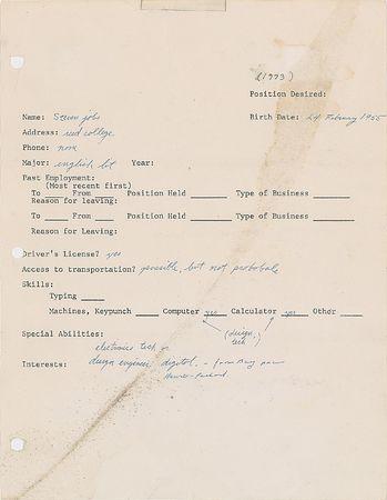 米アップル創業者スティーブ・ジョブズ氏の履歴書、1850万円で落札=当時18歳の直筆