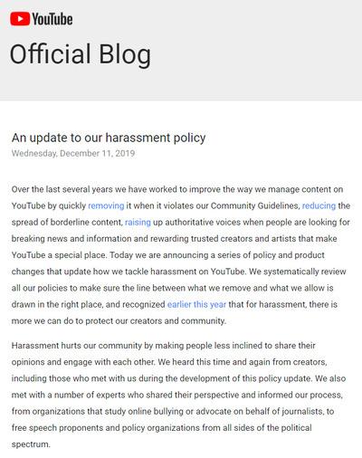 YouTubeのポリシーが更新され攻撃的・嫌がらせ・個人攻撃の動画が禁止に 立花やシバターが削除対象に