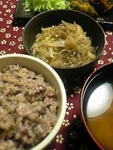 小豆ご飯 白菜と春雨のレンジ蒸し