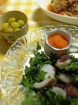 たこと春菊のキャロッとソースサラダ 炒り銀杏