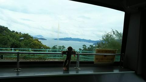 バスの後部からの景色