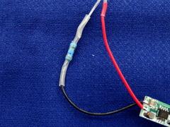 抵抗の足とモジュールの電線をはんだ付け