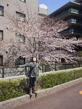 桜の前で♪
