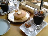ホットケーキとアイスコーヒー@うさぎカフェ