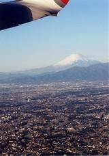 機上から望む富士山