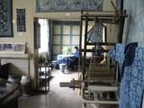 中国藍印花布館資料展示室での事務作業風景