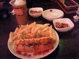 プレーンホットドッグとカフェオレ@CJ Cafe