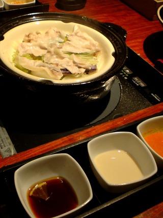 群馬産もち豚の土鍋蒸しを3種の薬味ソースで
