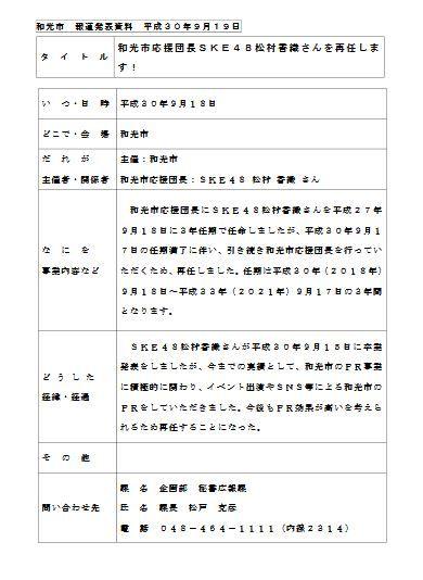 【朗報】SKE48松村香織、和光市応援団長を平成33年9月17日まで再任