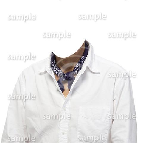 C025-男性白シャツ-遺影素材着せ替え