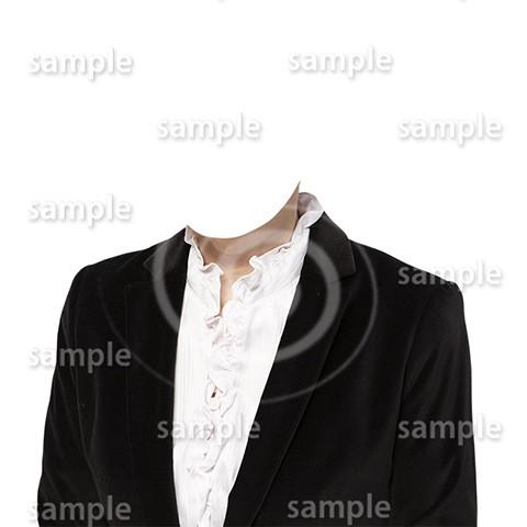 C075-遺影素材-女性黒の着せ替え