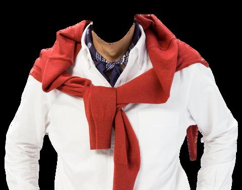 赤いセーター肩掛け素材