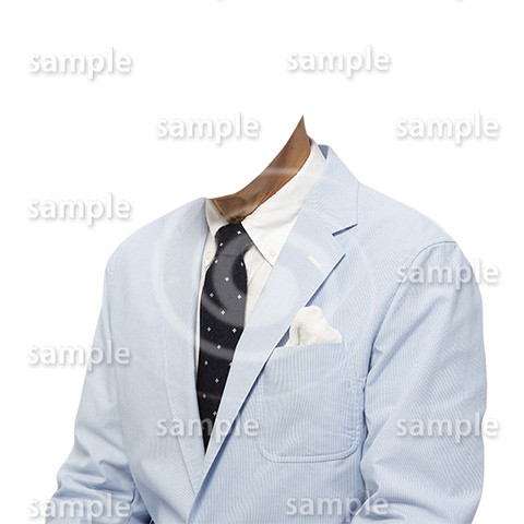 C019-男性夏水色ジャケット-遺影素材着せ替え