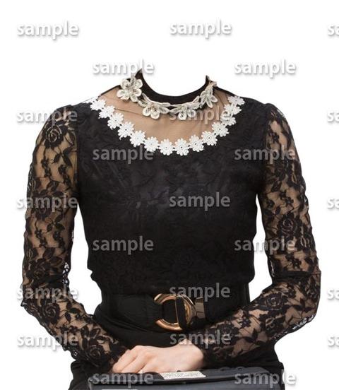遺影素材着せ替え女性黒フォーマル素材