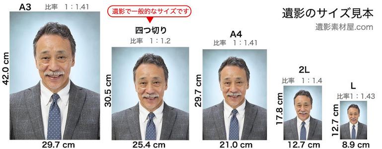 遺影の大きさ-四つ切りと2L