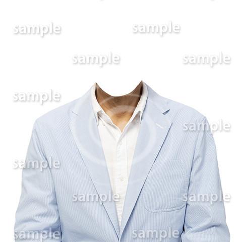 C023-男性夏水色ジャケット-遺影素材着せ替え