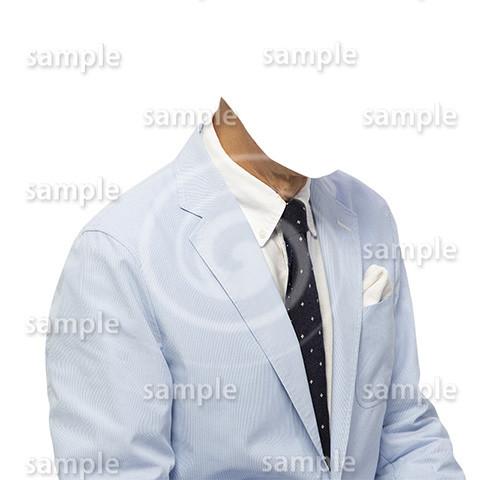 C021-男性夏水色ジャケット-遺影素材着せ替え