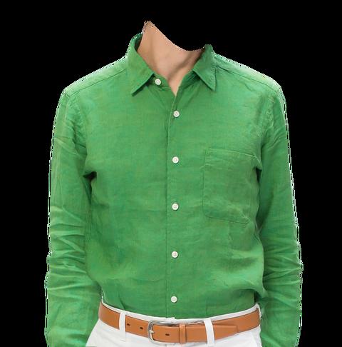 緑の麻のシャツ着せ替え