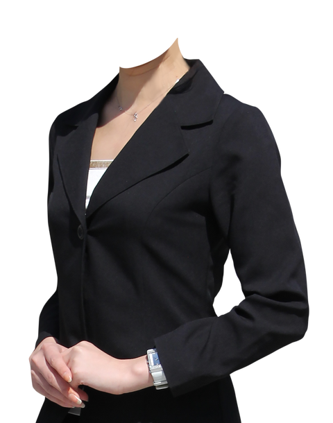 女性黒スーツ斜め遺影素材フリー